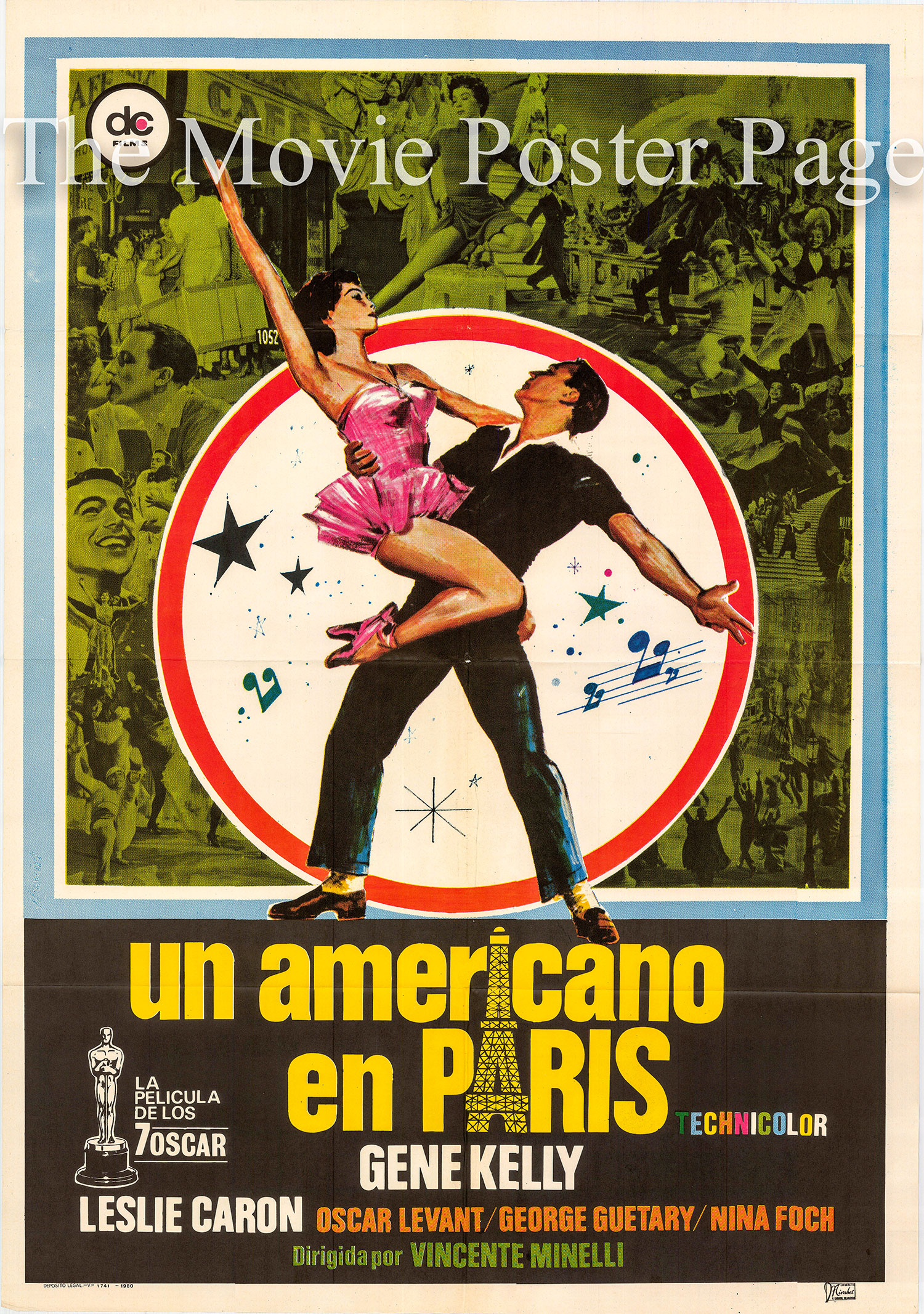 Pictured is a 1980 rerelease one-sheet for the 1951 Vincenet Minelli film An American in Paris starring Gene Kelly.