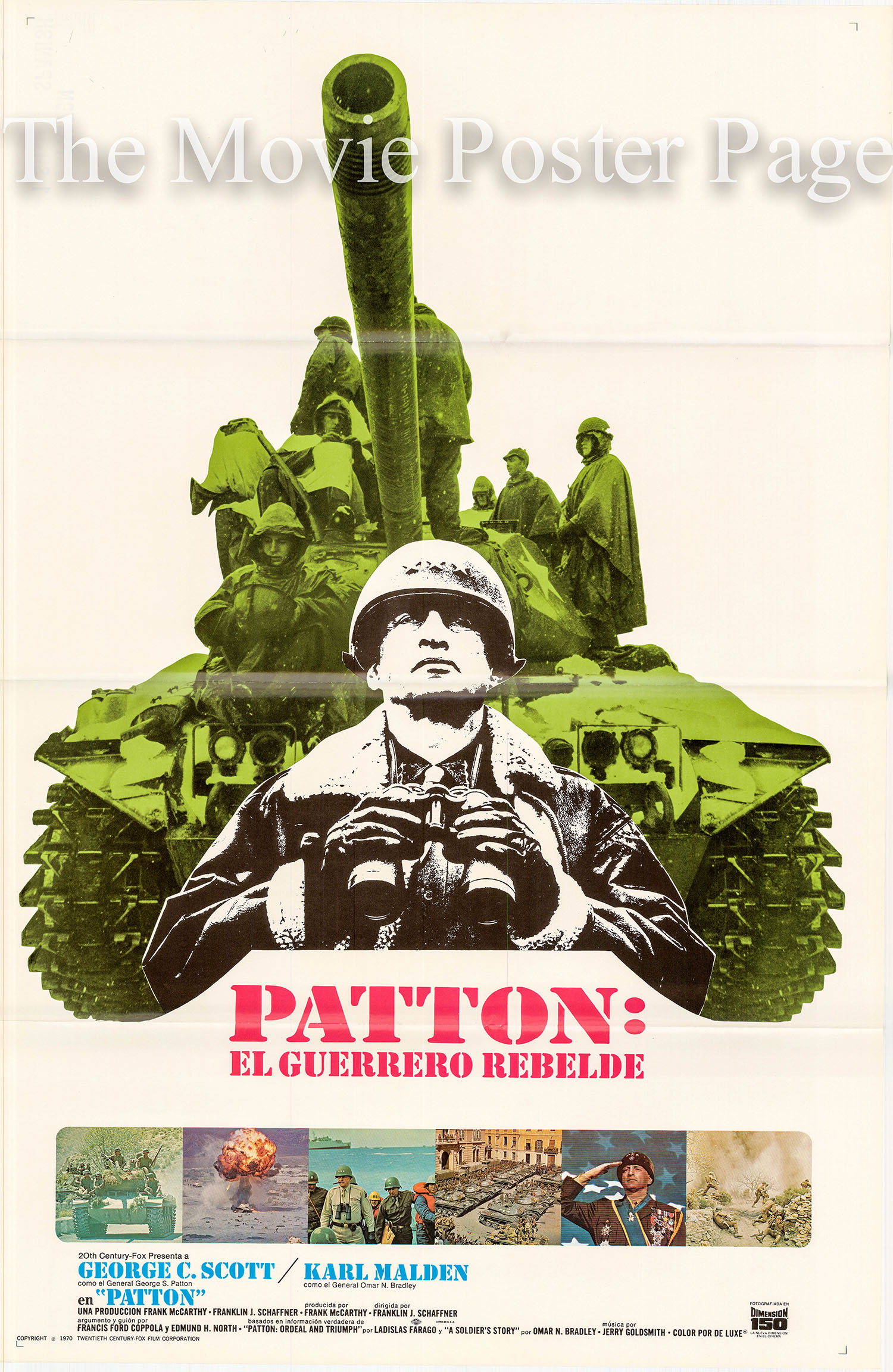 Pictured is a Spanish promotional poster for the 1970 Franklin J. Schaffner film Patton starring George C. Scott as General Patton.
