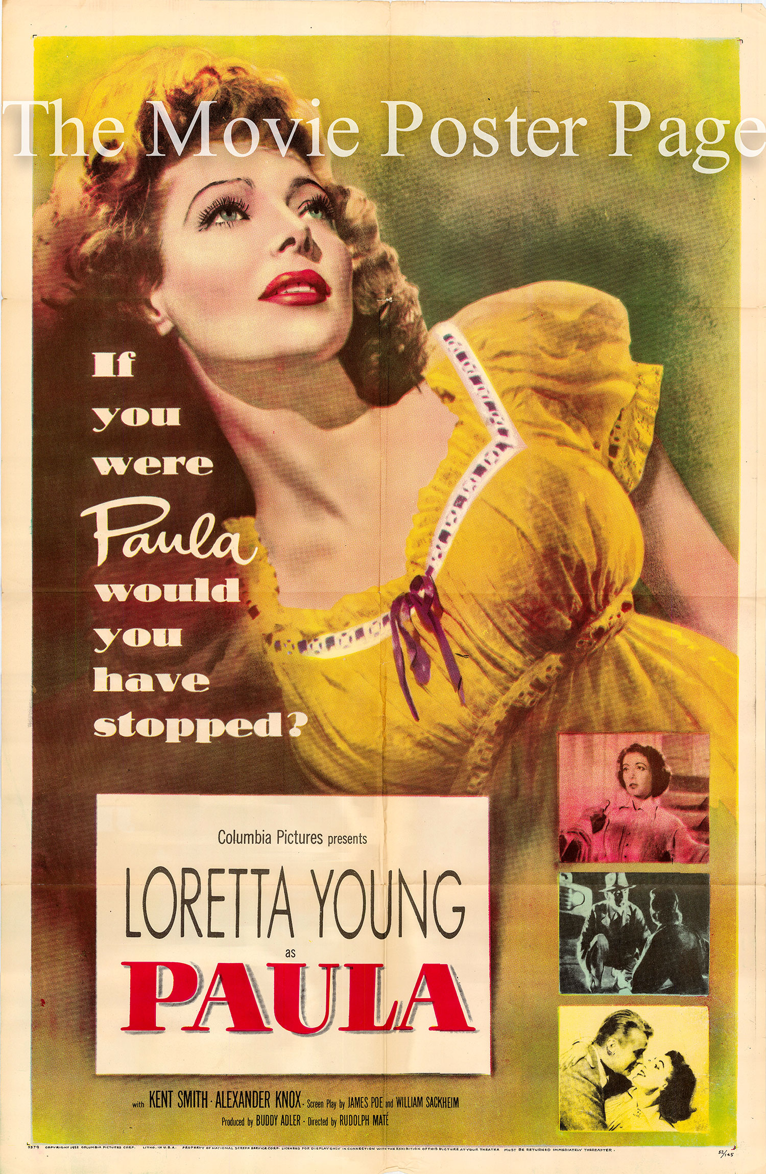 Pictured is a US one-sheet promotional poster for the 1952 Rudolph Mate film Paula starring Loretta Young.