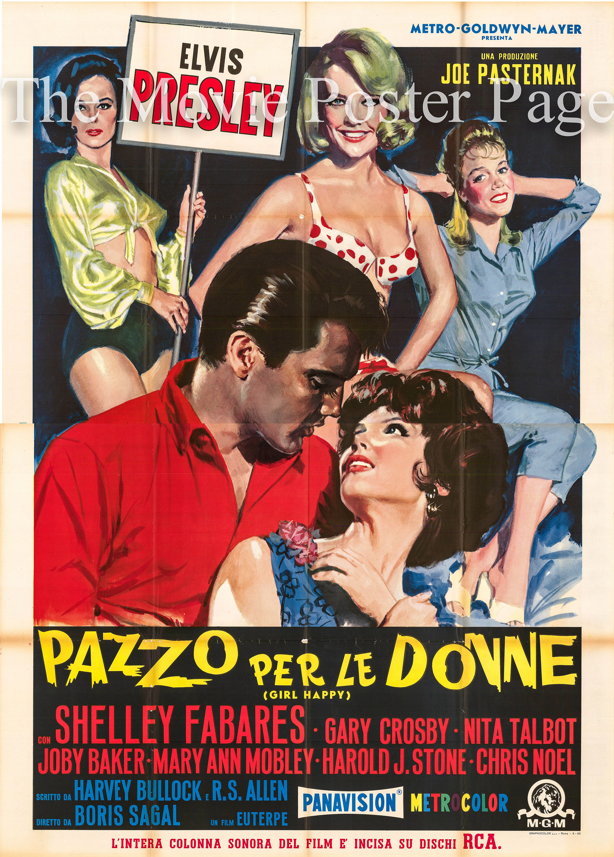 Pictured is an Italian four-sheet promotional poster for the 1965 Boris Sagal film Girl Happy starring Elvis Presley.
