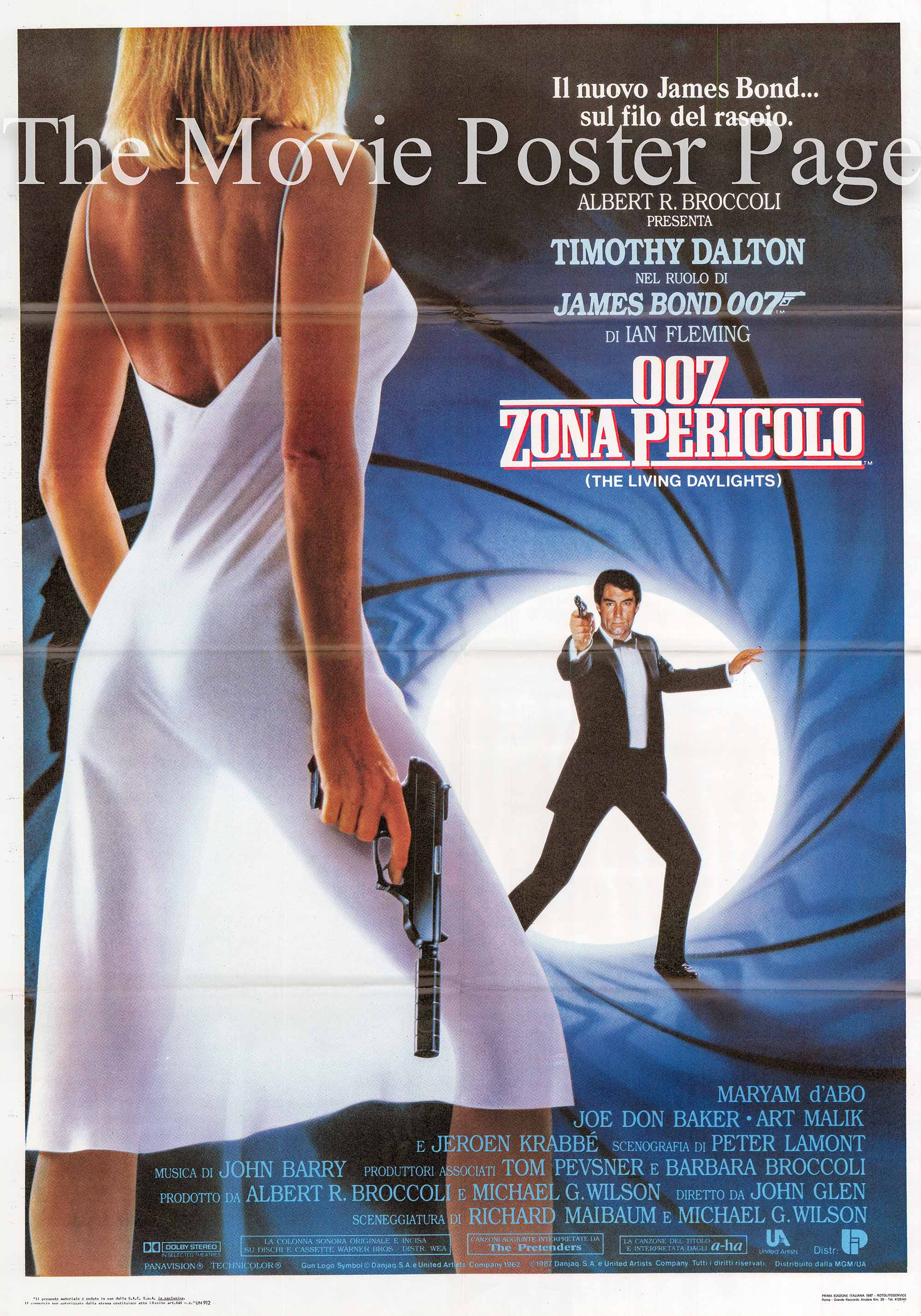Pictured is an Italian two-sheet promotional poster for the 1987 John Glen film The Living Daylights starring Timothy Dalton as James Bond.