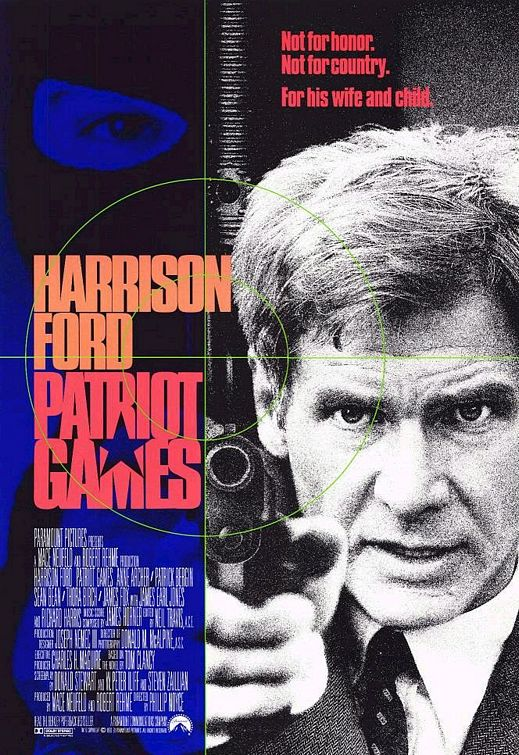 Pictured is the US one-sheet promotional poster for the 1992 Phillip Noyce film Patriot Games starring Harrison Ford, based on the novel by Tom Clancy.