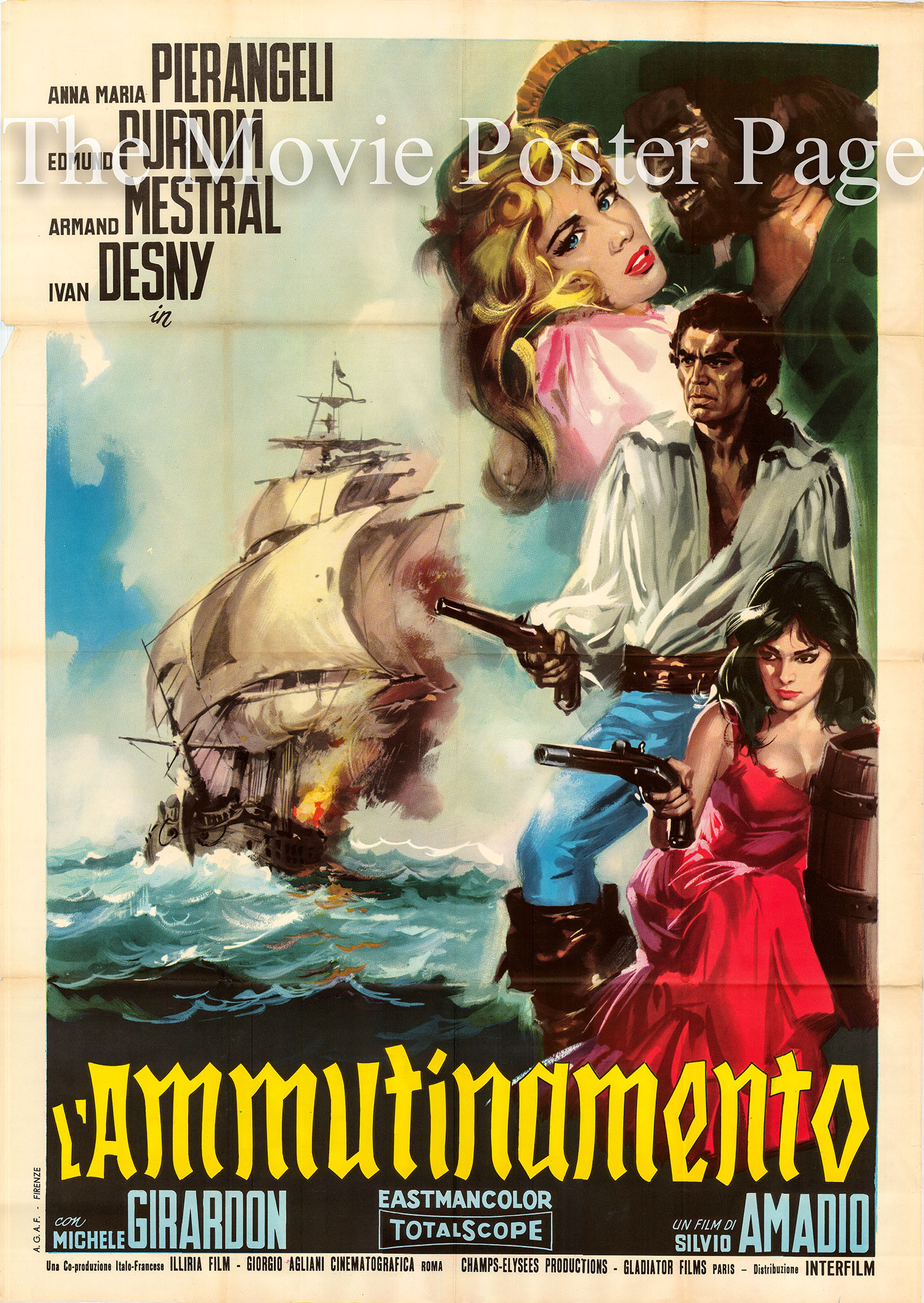 Pictured is an Italian two-sheet poster made to promote the 1962 Silvio Amadio film <i>White Slave Ship</i> starring Pier Angeli as Polly.