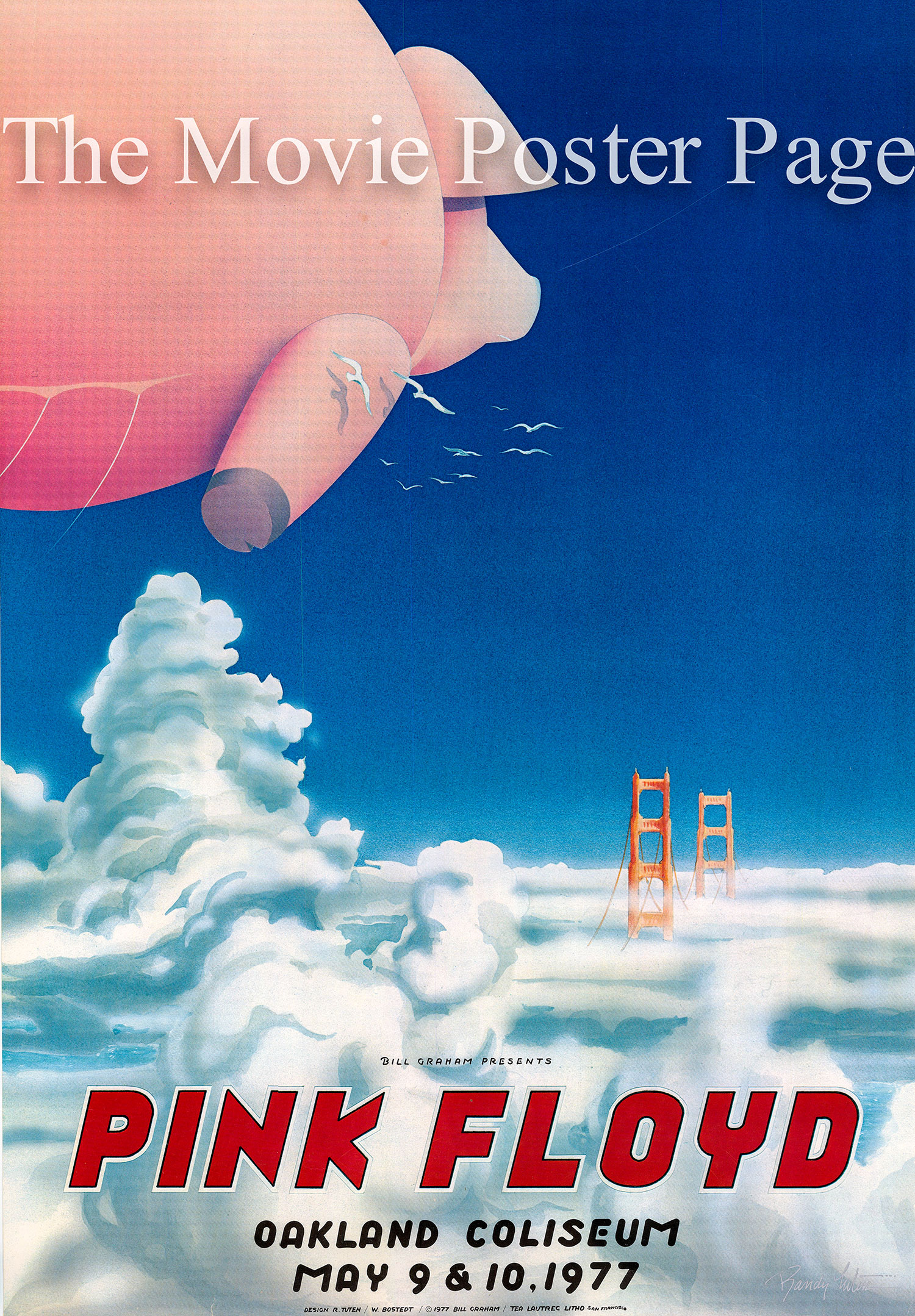 Pictured is a US concert  poster for May 1977 Pink Floyd Oakland Coliseum concert.