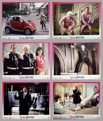 Pictured are six US promotional lobby cards for the 2006 Shawn Levy film The Pink Panther starring Steve Martin.