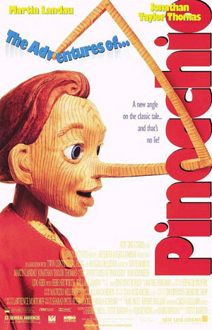 Pictured is a US promotional one-sheet poster for the 1996 Steve Barron film The Adventures of Pinocchio starring Martin Landau and Jonathan Taylor Thomas.