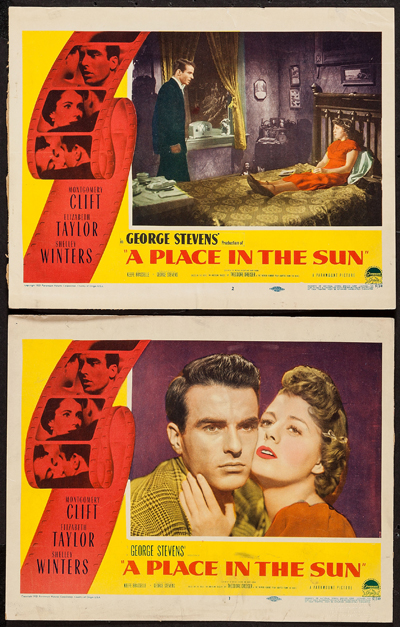 Pictured are two US lobby cards for the 1951 George Stevens film A Place in the Sun starring Montgomery Clift and Elizabeth Taylor.