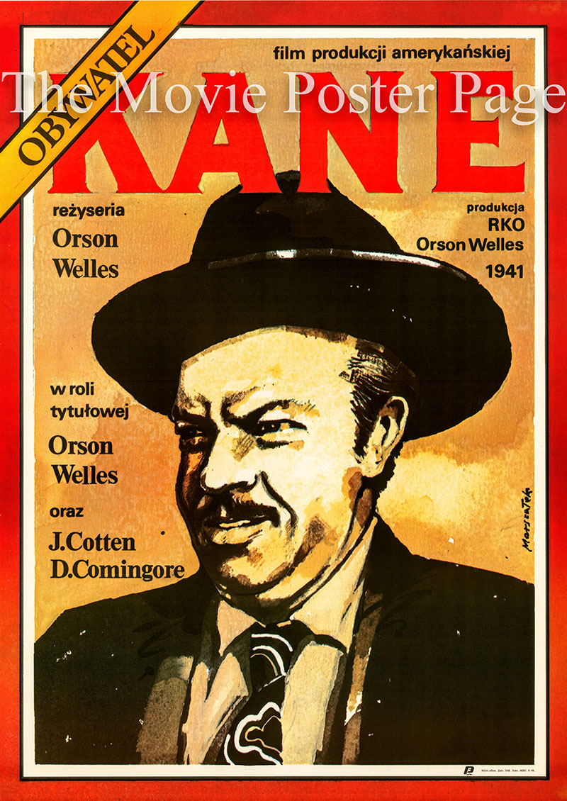 Pictured is a Polish promotional poster for a 1987 rerelease of the 1941 Orson Welles film Citizen Kane starring Orson Welles as Kane.