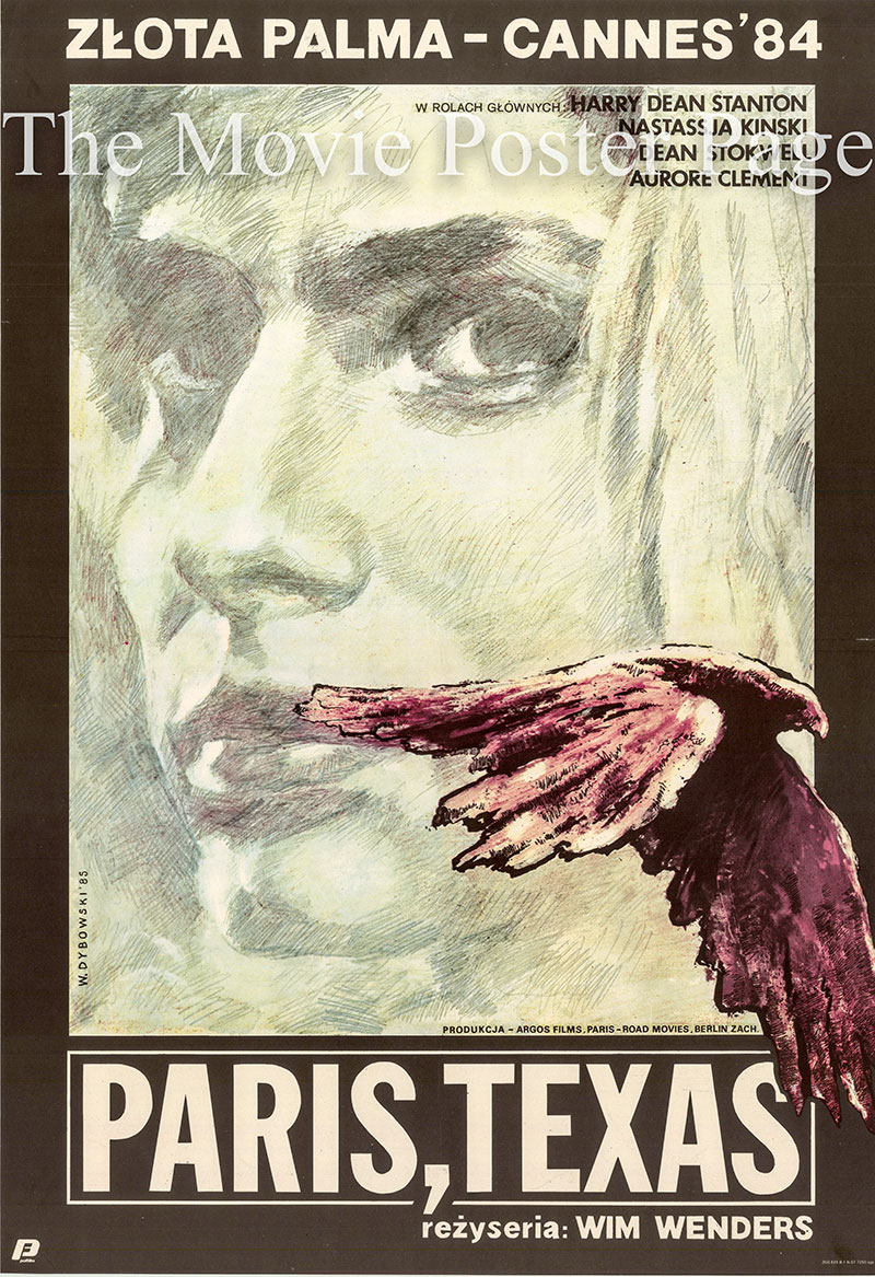 Pictured is a Polish promotional poster for the 1984 Wim Winders film Paris, Texas, starring Harry Dean Stanton as Travis Henderson.