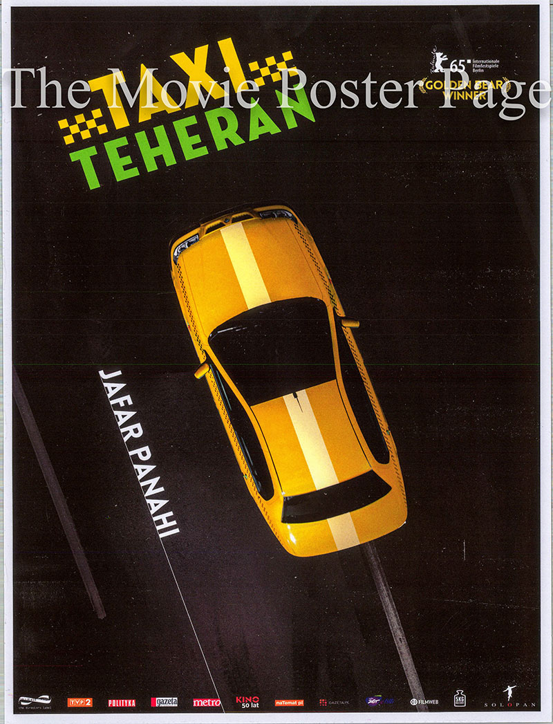 Pictured is an Iranian promotional poster for the 2015 Jafar Panahi film Taxi Tehran starring Jafar Panahi as himself.