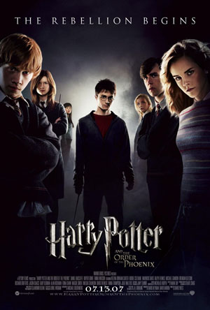 Pictured is the US promotinal one-sheet poster for the 2007 David Yates film Harry Potter and the Order of the Phonenix, starring Daniel Radcliffe.