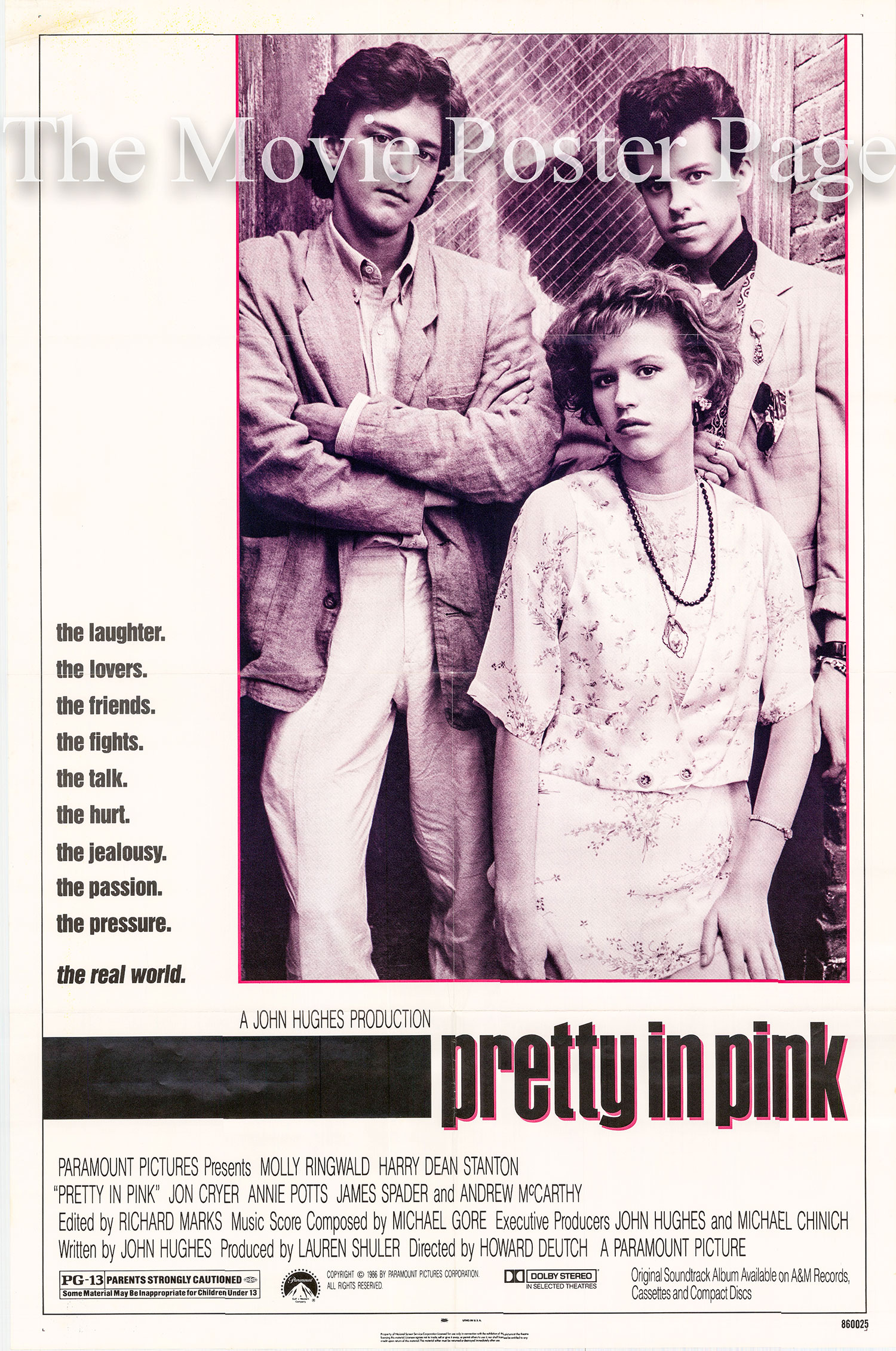 Pictured is a US one-sheet promotional poster for the 1986 John Deutch film Pretty in Pink starring Molly Ringwald.