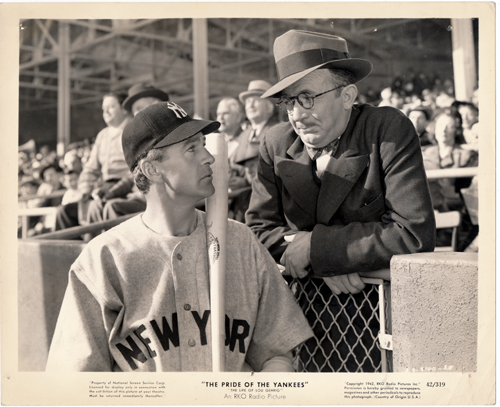 Pictured is a US promotional still photo from the 1942 Sam Wood film The Pride of the Yankees starring Gary Cooper as Lou Gehrig.