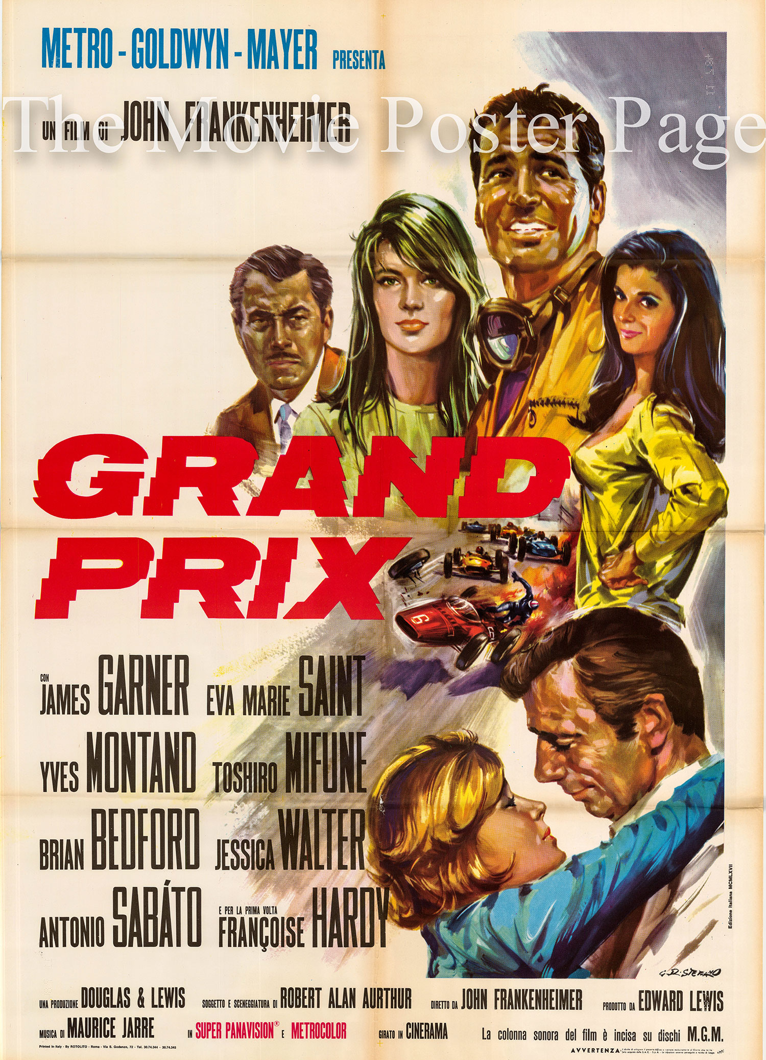 Pictured is an Italian two-sheet promotional poster for the 1967 John Frankenheimer film Grand Prix starring James Garner as Pete Aron.