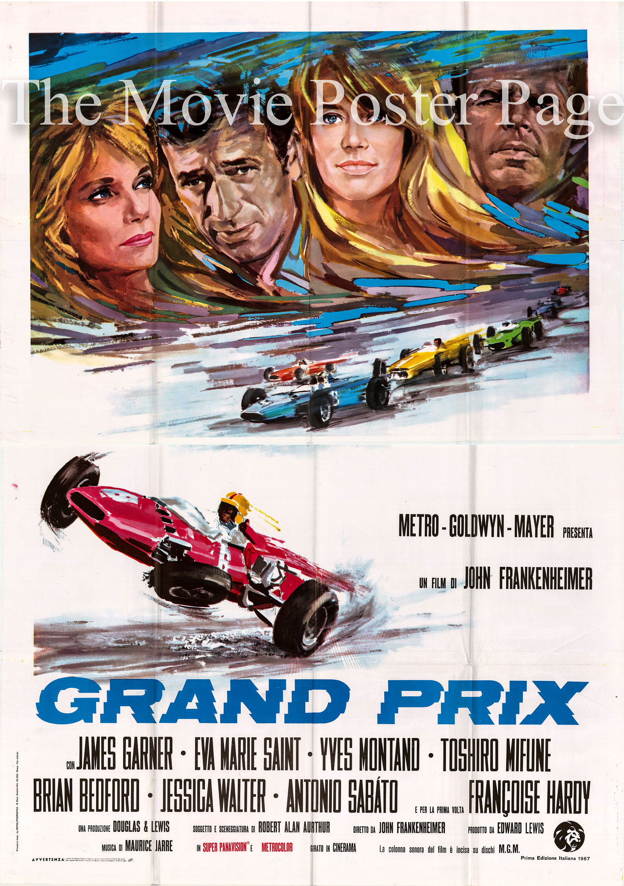Pictured is an Italian four-sheet promotional poster for the 1967 John Frankenheimer film Grand Prix starring James Garner as Pete Aron.