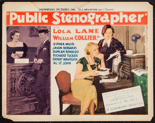 Pictured is a US lobby card for the 1934 Lewis D. Collins film Public Stenographer starring Lola Lane.