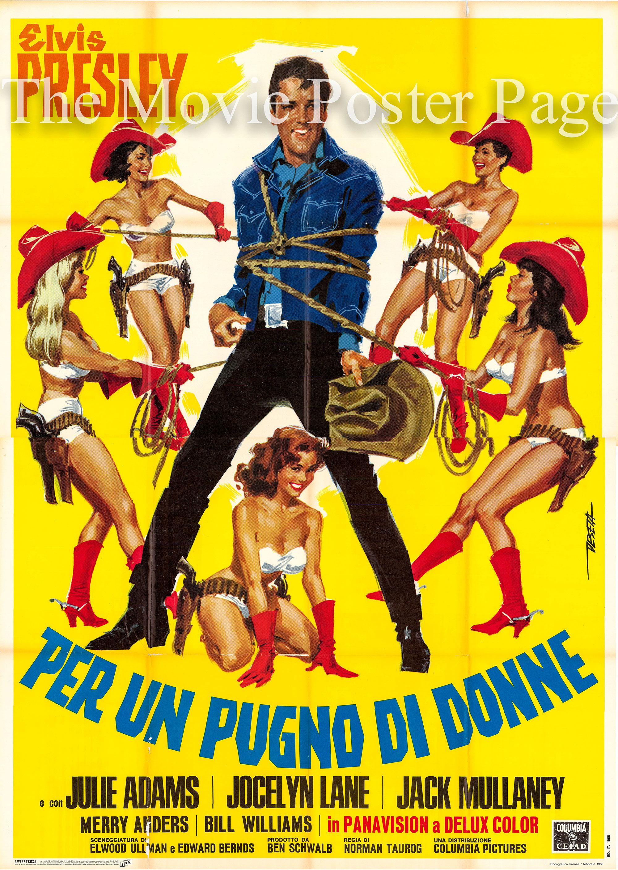 Pictured is an Italian four-sheet promotional poster for the 1965 Norman Taurog film <i>Tickle Me</i> starring Elvis Presley.