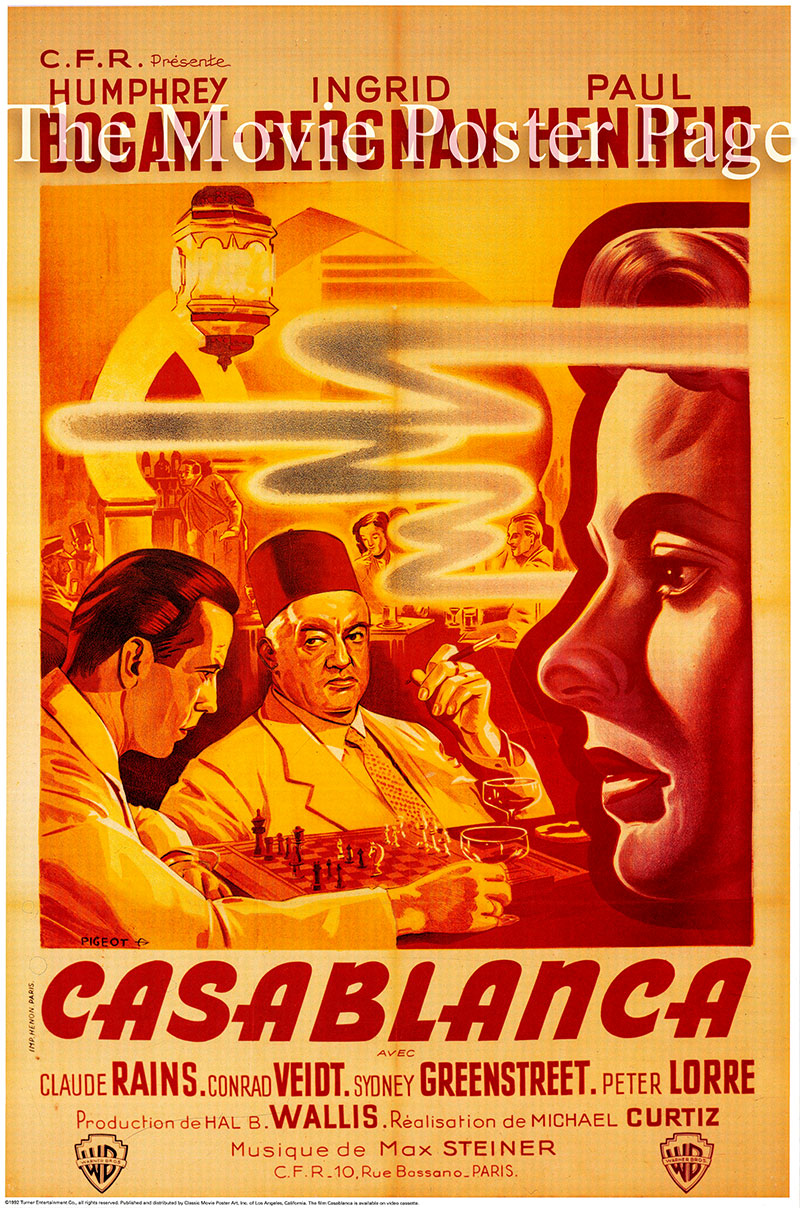 Pictured is a French reprint poster for the 1942 Michael Curtiz film Casablanca staring Humphrey Bogart as Rick Blaine.