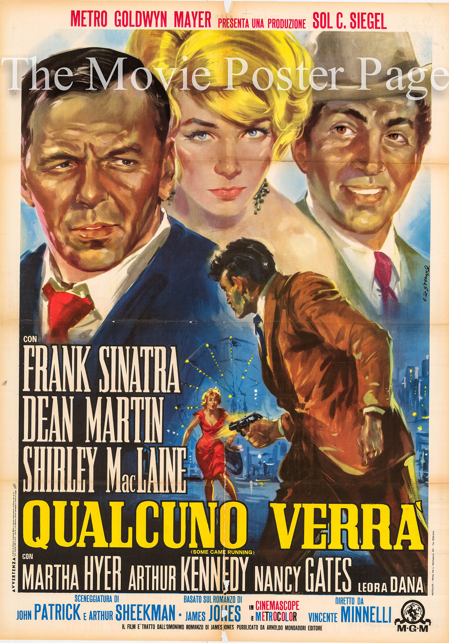 Pictured is an Italian two-sheet promotional poster for the 1958 Vincente Minnelli film <i>Some Came Running</i> starring Frank Sinatra.