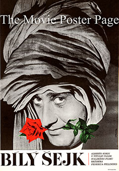 This is a Czech poster for a 1970 rerelease of the 1952 Federico Fellini film The White Sheik starring Alberto Sordi as Fernando Rivoli, the White Sheik.