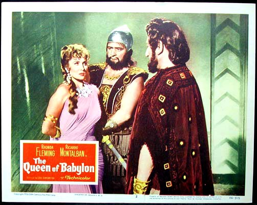 Pictured is a US lobby card for the 1955 Carlo Ludovico Bragaglia film The Queen of Babylon starring Rhonda Fleming.