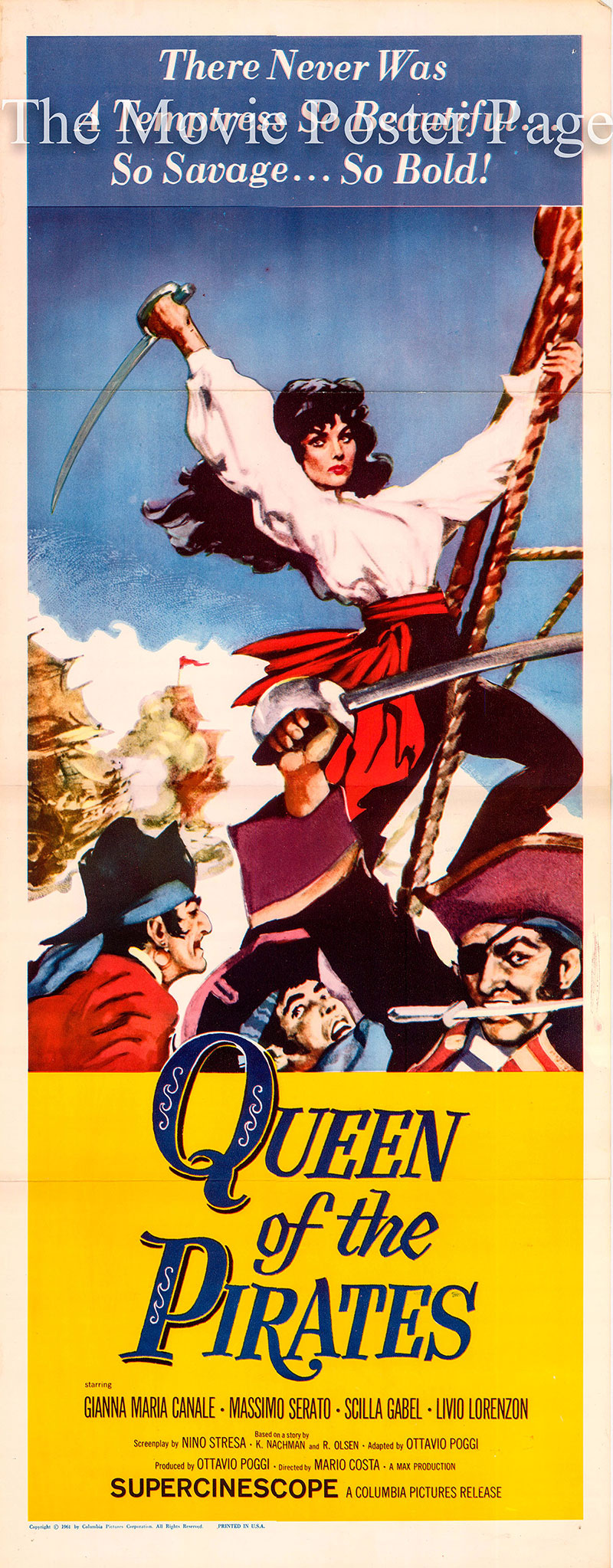 Pictured is a US one-sheet promotional poster for the 1961 Mario Costa film Queen of the Pirates starring Gianna Maria Canale.