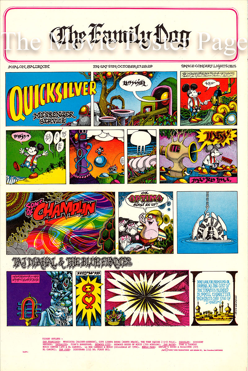 Pictured is a US promotional poster designed by Rick Griffin for an October 1967 appearance at the Avalon Ballrom by Quicksilver Messenger Service.