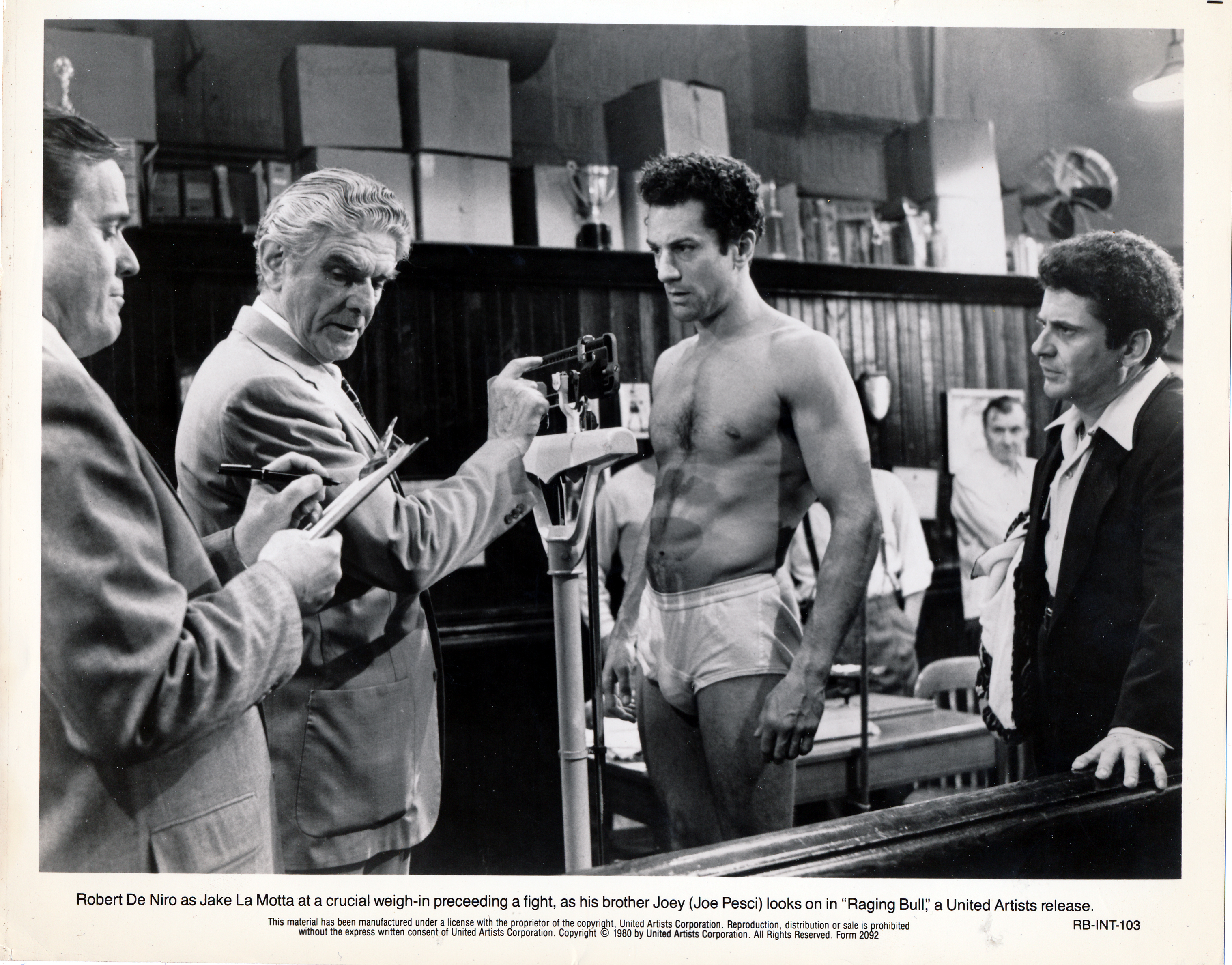 Pictured is a US promotional black-and-white still for the 1980 Martin Scorcese film Raging Bull starring Robert DeNiro.