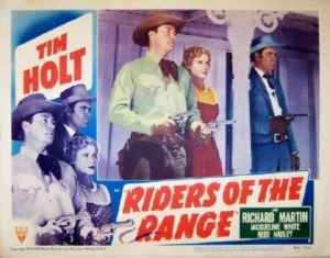 Pictured is a US lobby card set for the 1949 Lesley Selenader film Riders fo the Range starring Tim Holt.