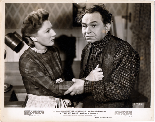 Pictured is a US promotional still photo from the 1946 Delmer Daves film The Red House starring Edward G. Robinson, from the novel by George Agnew Chamberlain.