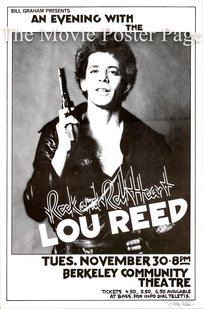 Pictured is a US promotional poster for a 30 November 1976 appearance by Lou Reed at the Berkely Community Theater.
