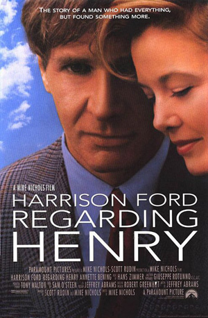 Pictured is a US one-sheet promotional poster for the 1991 Mike Nichols film Regarding Henry starring Harrison Ford and Annette Bening.