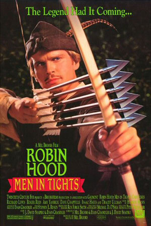 Pictured is a US promotional one-sheet poster for the 1993 Mel Brooks film Robin Hood: Men in Tights, starring Cary Elwes.