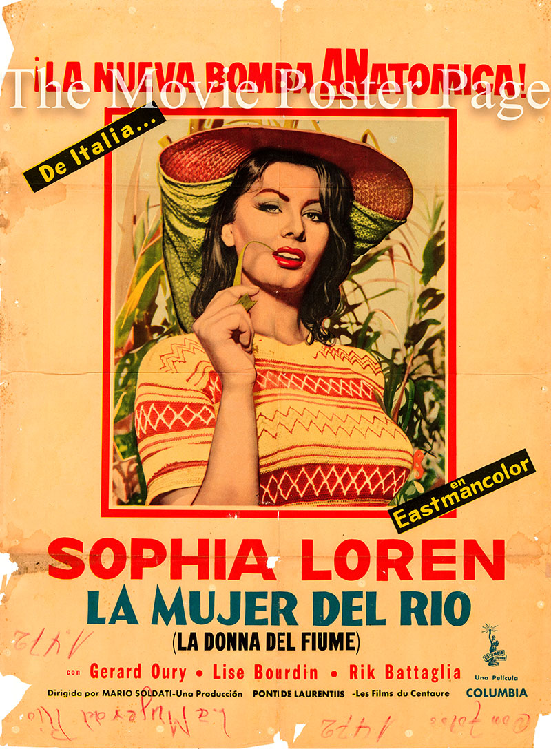 pctured is a Spanish one-sheet poster for the 1954 Mario Soldati film Woman of the River starring Sophia Loren as Mives Mongolini.