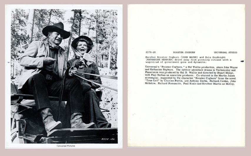 Pictured is a US promotional still photo from the 1975 Stuart Millar film Rooster Cogburn starring John Wayne and Katharine Hepburn.