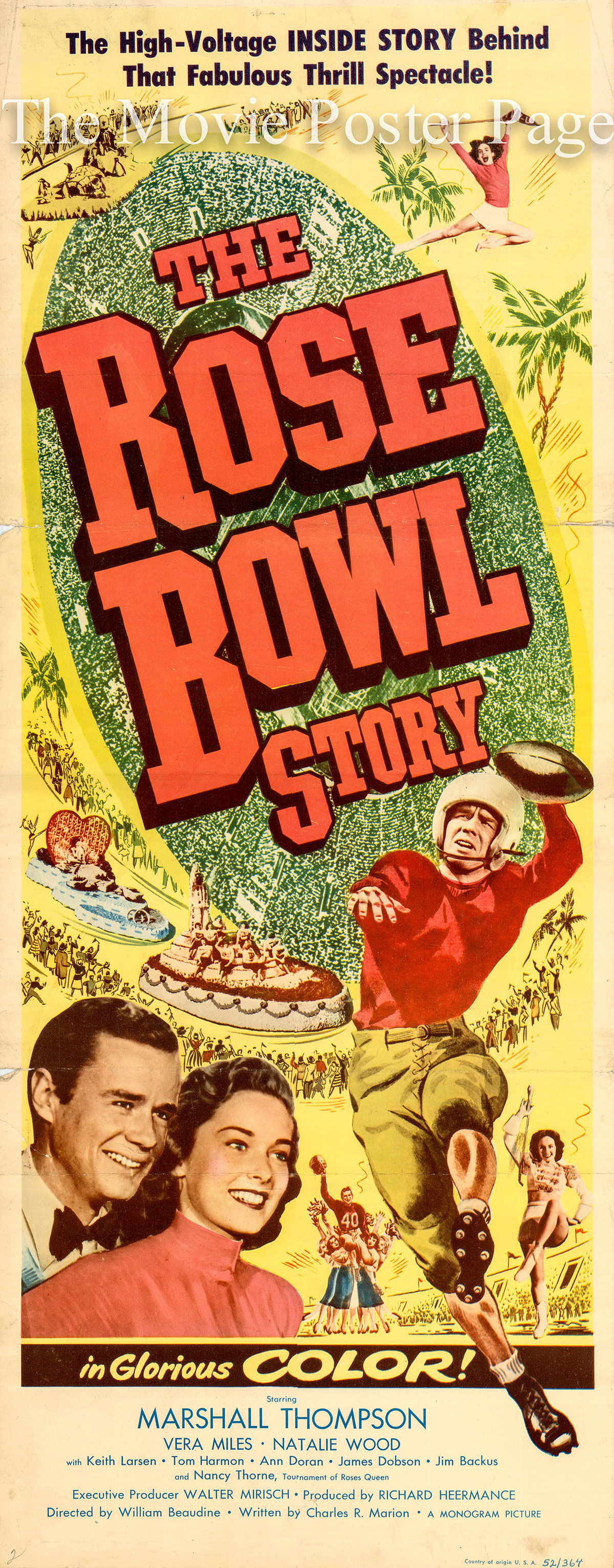 Pictured is a US insert promotional poster for the 1952 William Beaudine film The Rose Bowl Story starring Marshall Thompson.