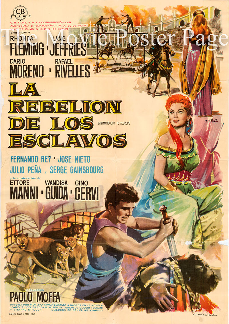Pictured is a Spanish one-sheet poster for the 1960 Nunzio Malosomma film Revolt of the Slaves starring Rhonda Fleming as Fabiola.