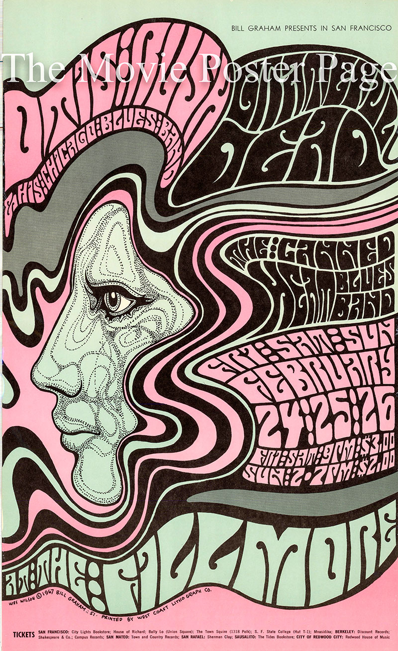 Pictured is a US promotional poster designed by Wes Wilson for a 1967 Grateful Dead concert at the Fillmore Auditorium in San Francisco.