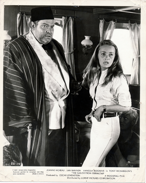 Pictured is a US promotional still photo from the 1967 Tony Richardson film The Sailor from Gibraltar starring Orson Welles and Jeanne Moreau.