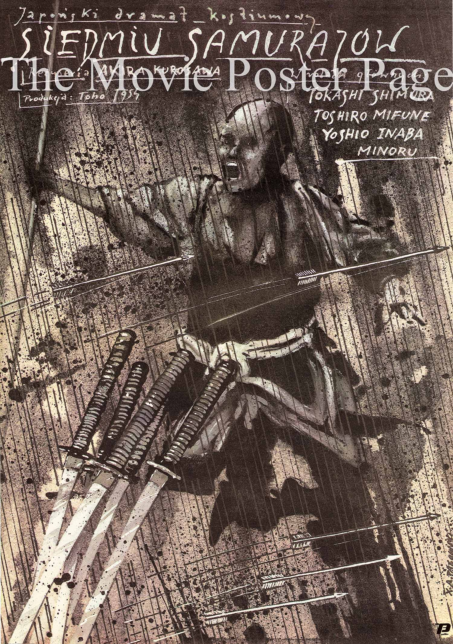 Pictured is a Polish poster designed by Andrzej Pagowski to promote a 1987 rereleae of the 1954 Akira Kurosawa film Seven Samurai starring Toshiro Mifune.