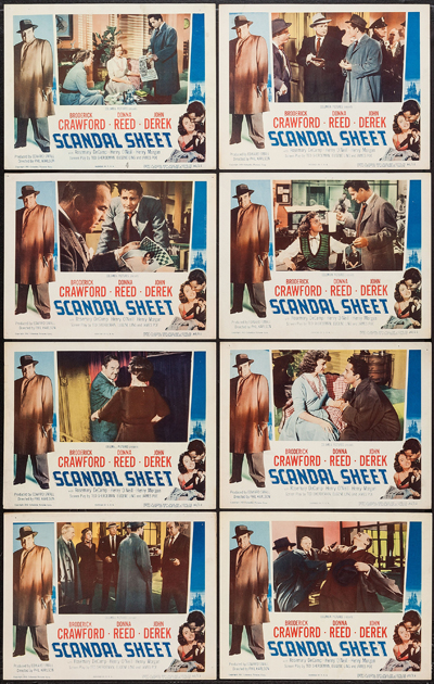 Pictured is a US lobby card set for the 1952 Phil Karlson film Scandal Sheet starring Broderick Crawford.