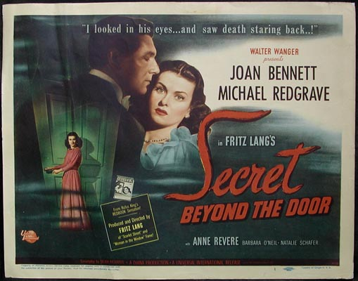 Pictured is a US lobby card for the 1947 Fritz Lang film Secret Beyond the Door starring Joan Bennett and Michael Redgrave.