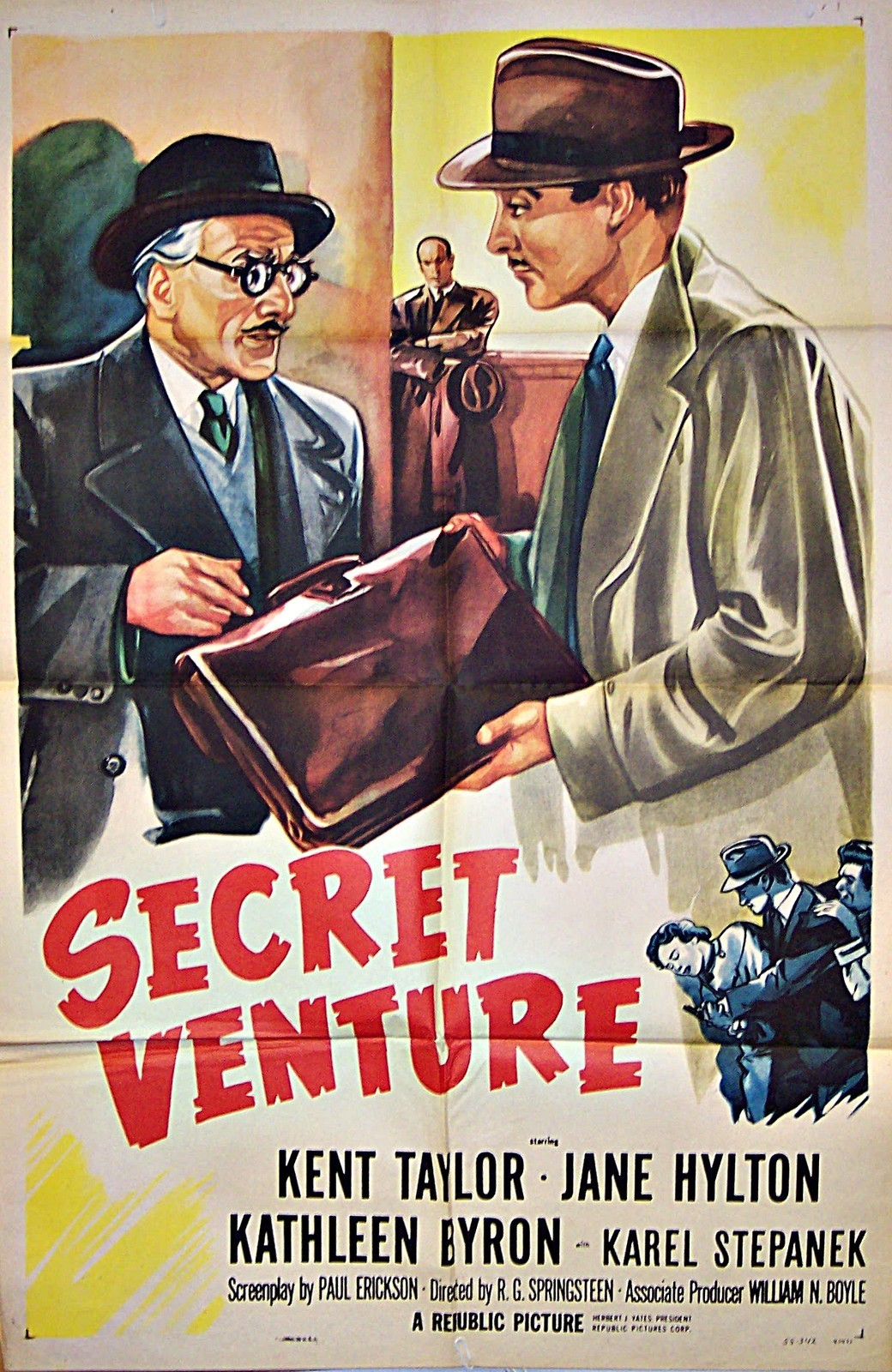 Pictured is a US one-sheet promotional poster for the 1955 R.G. Springsteen film Secret Venture starring Kent Taylor.