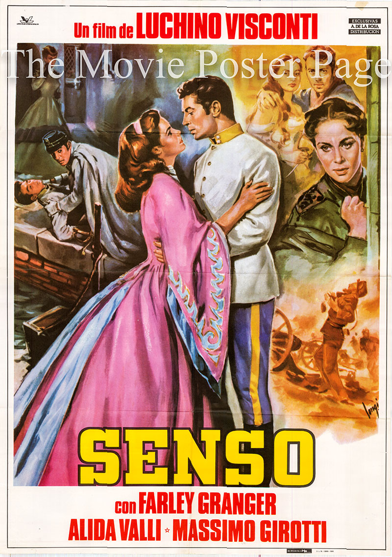 Pictured is a Spanish one-sheet poster for a 1982 rerelease of the 1954 Luchino Visconti film Senso starring Farley Granger as Franz Mahler.