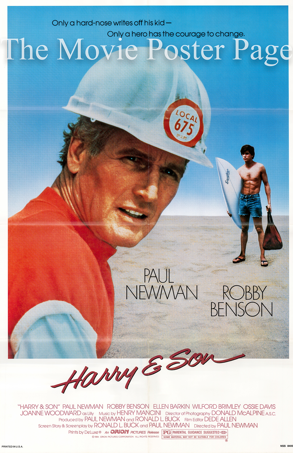Pictured is a US promotional one-sheet poster for the 1984 Paul Newman film Harry and Son starring Robby Benson and Paul Newman.
