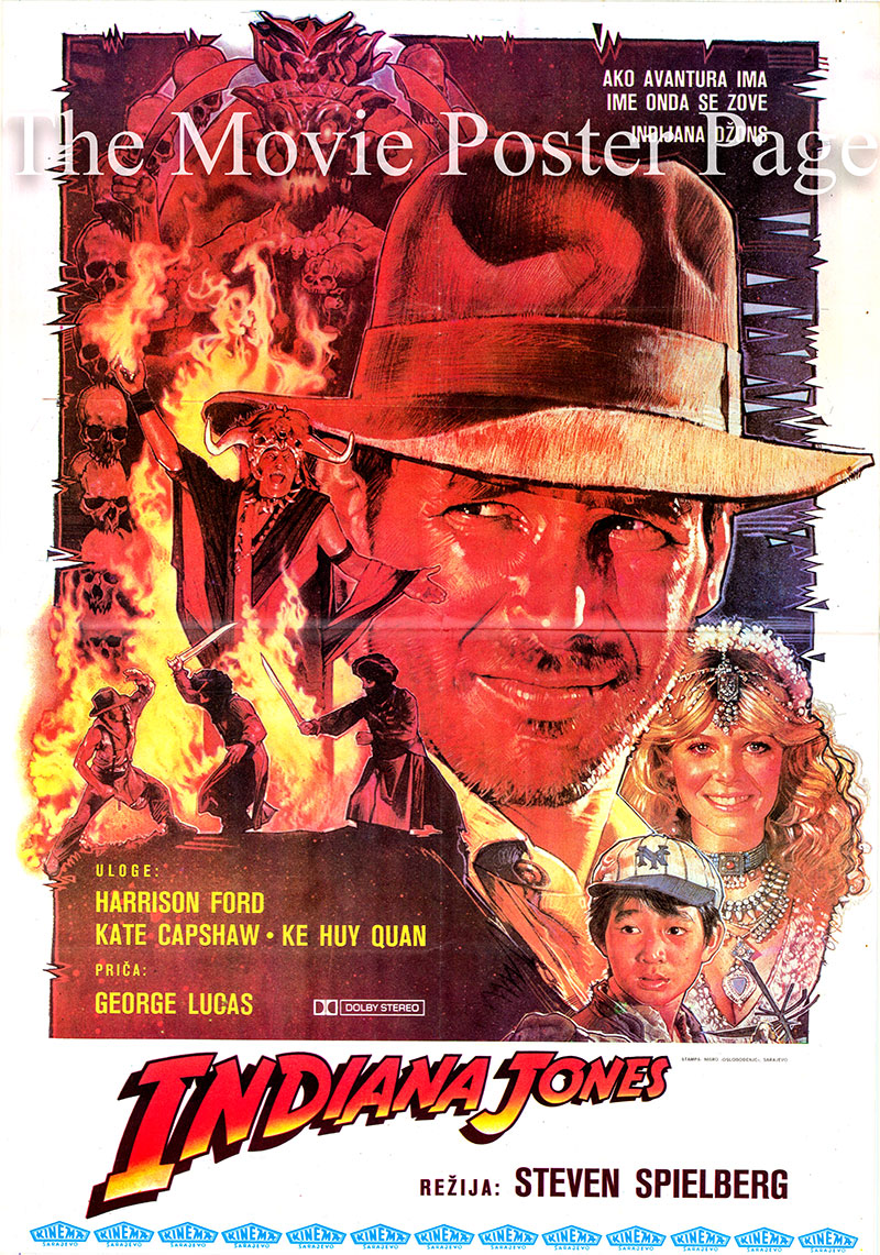 Pictured is a Yugoslavian poster for the 1984 Steven Spielberg film Indiana Jones and the Temple of Doom starring Harrison Ford as Indiana Jones.