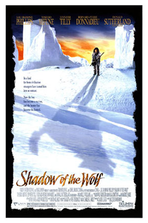 Pictured is a US promotional one-sheet poster for the 1992 Jacques Dorfmann and Pierre Magny film Shadow of the Wolf starring Lou Diamond Phillips.