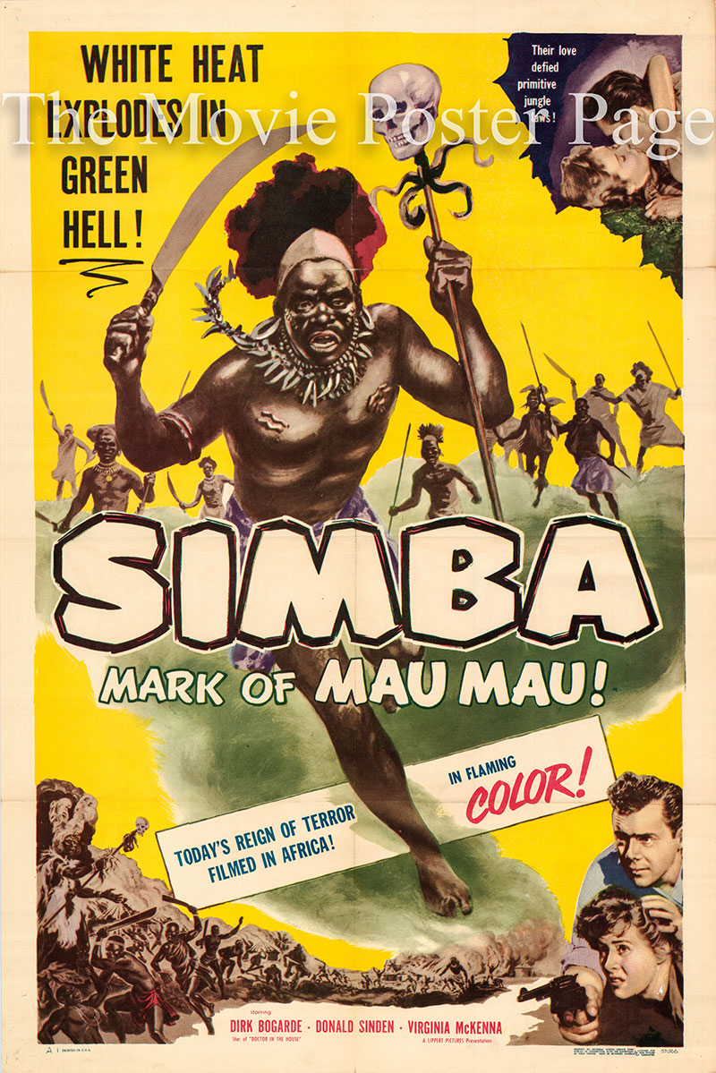 Pictured is a US promotional poster for the 1955 Brian Desmond Hurst film Simba starring Dirk Bogarde.