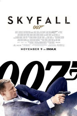 Pictured is a US promotional poster for the 2012 Sam Mendes film Skyfall starring Daniel Craig as James Bond.
