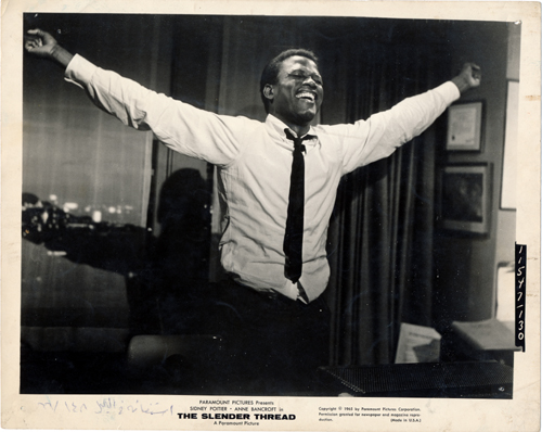 Pictured is a US promotional still photo from the 1966 Sydney Pollack film The Slender Thread starring Sidney Poitier and Anne Bancroft.